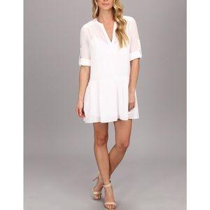 Bcbgmaxazria lauryn white peasant shift dress
